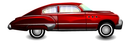 cruising: Classic sports car, coupe, red, vector illustration