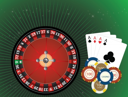 Casino Gambling, Roulette Wheel, Casino Chips, and Four Aces Cards, vector illustration Vector