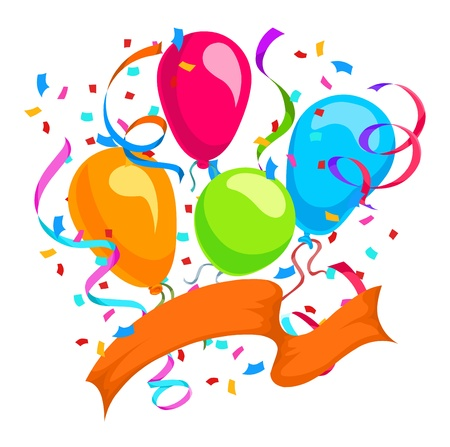 festive occasions: Celebration with balloons, ribbons, and confetti, vector illustration Illustration