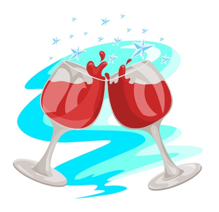 Celebration with red wine and glasses toasting, vector illustration