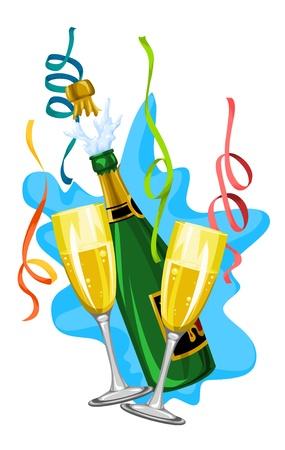 Celebration with white wine in glasses and bottle, vector illustration Vettoriali
