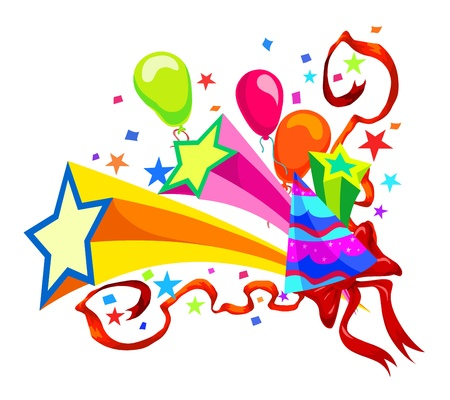 festive occasions: Celebration with balloons, stars, party hats, ribbons and confetti, vector illustration