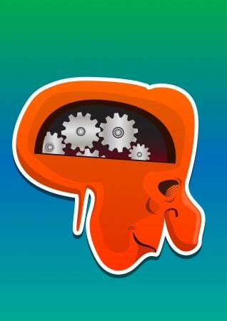 lifeform: Monster Head, with Mechanical Brain, Red Orange, Side View, vector illustration Illustration