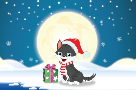 Merry Christmas in blue and white background with cat, present, moon, stars, snow, and snowy landscape, vector illustration Vector
