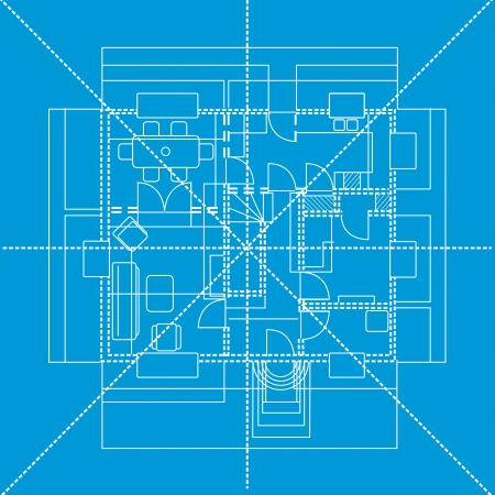 Blue floor plan showing furniture layout, vector illustration Vector