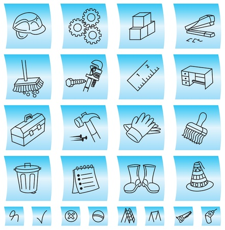 Construction buttons and icons, vector illustration Stock Vector - 22066619