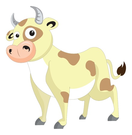 Cute cow, yellow with brown patches, vector illustration
