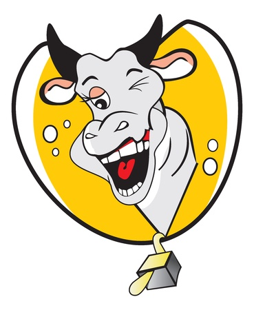 winking: Funny Winking Cow, with a Bubbly Personality, vector illustration