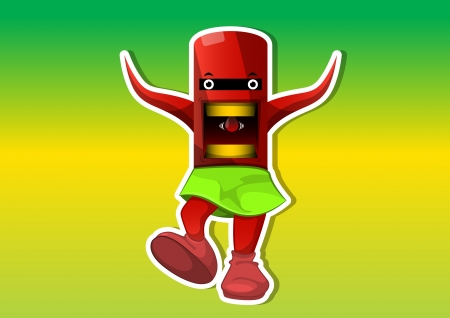 lifeform: Alien Creature, Red, with Tentacles, Wearing a Green Skirt, vector illustration