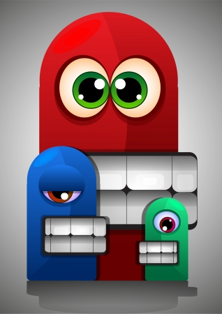 Colorful Creatures, Red Blue Green Monsters, Big Eyes Teeth, vector illustration Vector