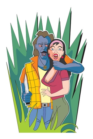 kidnapping: Hostage-taking, female, man holding knife and arm around womans neck, grassland, vector illustration Illustration