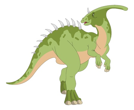 coldblooded: Dinosaur, Green, Horned and Spiked, vector illustration