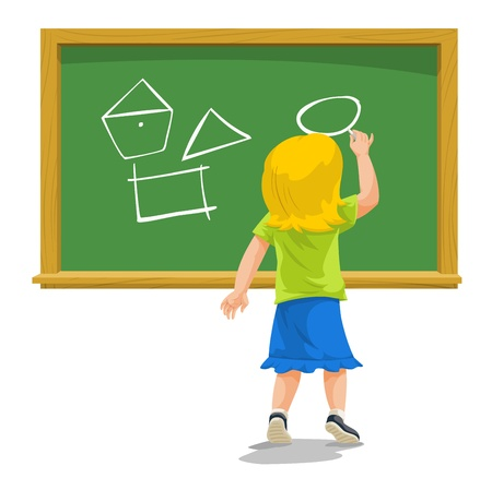 participation: Education showing child drawing shapes on a chalkboard, vector illustration Illustration