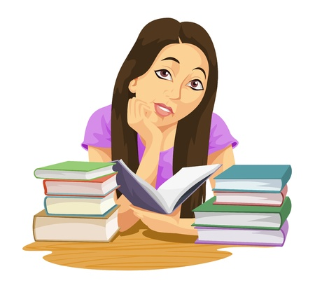 tertiary: Education showing a girl reading a book and more books piled on the table, vector illustration Illustration