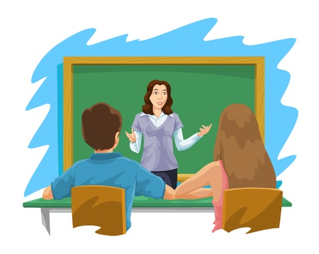 gradeschool: Education showing a female teacher instructing a boy and a girl, vector illustration