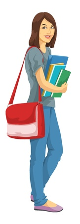 college girl: Education showing a college girl with bag and carrying notebooks and books, vector illustration