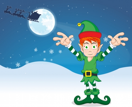 Merry Christmas elf with blue and white background, and santa claus and reindeer flying across the moon, vector illustration