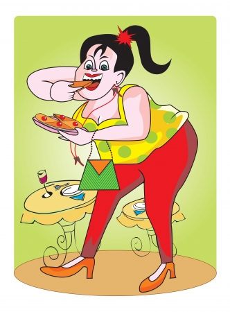 Fat girl, with pie and drink, in a restaurant, vector illustration Çizim