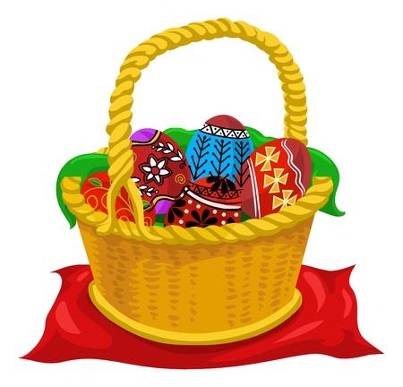 season: Easter eggs, yellow basket, colorful, vector illustration Illustration