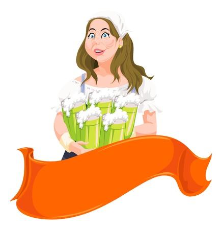 Beer Festival, waitress holding five mugs of beer, vector illustration Ilustração
