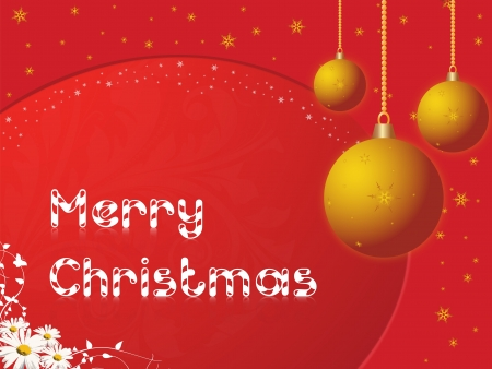 Merry Christmas in red background with daisies, balls, and snowflakes or stars, vector illustration Vector