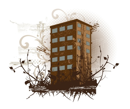 Brown building with nature and design patterns, vector illustration Stock Vector - 22066652