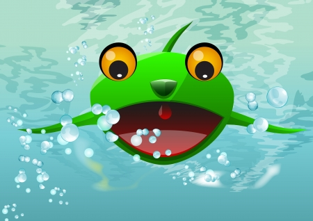 lifeform: Frog Thing, Alien Water Creature, Monster, Green, vector illustration Illustration
