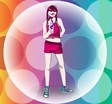 Girl with an ice cream sundae cone, athletic outfit, braided hair, vector illustration Vettoriali