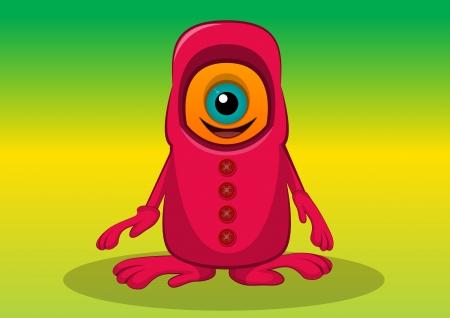 lifeform: One-eyed Creature, Orange and Red Monster, Big Alien Eye, vector illustration Illustration