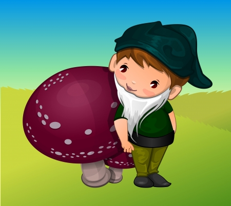 Gnome, Leaning on a Mushroom, vector illustration