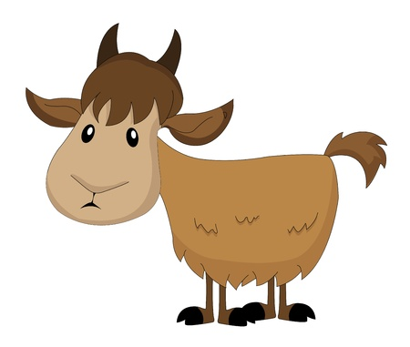 hooves: Cute brown goat, vector illustration Illustration