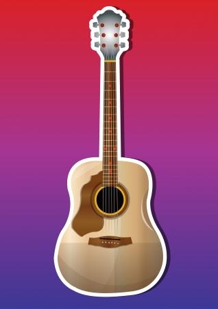 kahverengi: Guitar, Acoustic, Brown, vector illustration