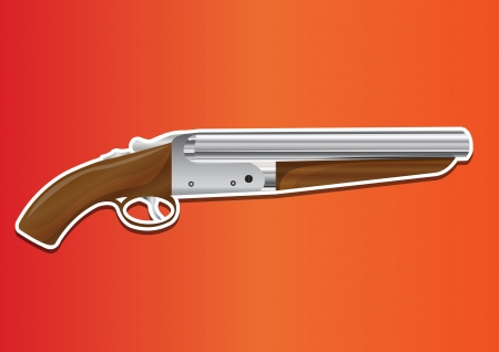 assasin: Lupara or Sawn-off Shotgun, vector illustration Illustration