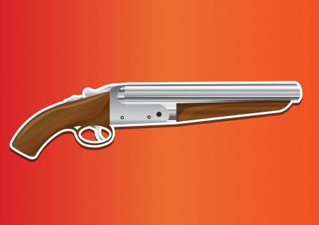 mobster: Lupara or Sawn-off Shotgun, vector illustration Illustration