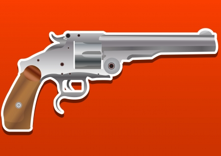 Gun, Handgun, Pistol or Revolver, vector illustration Çizim
