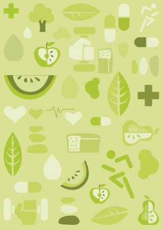 Health background, vector illustration Çizim