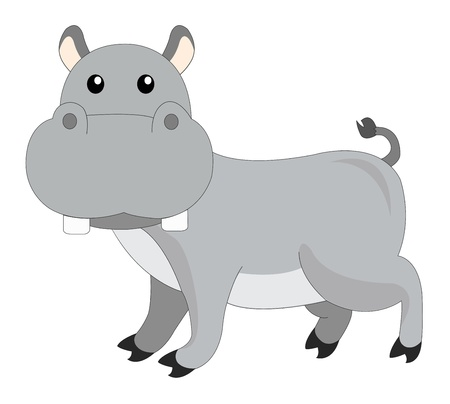 grey: Cute grey hippopotamus, vector illustration Illustration