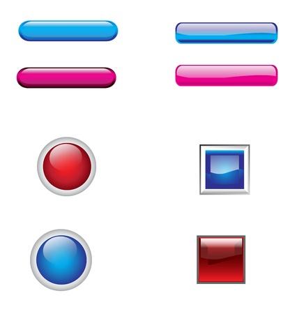 effet: boutons de site Web avec effet de verre, illustration vectorielle Illustration