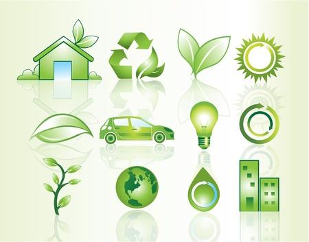 desarrollo sustentable: Iconos del Web site con el tema del medio ambiente, ilustración vectorial
