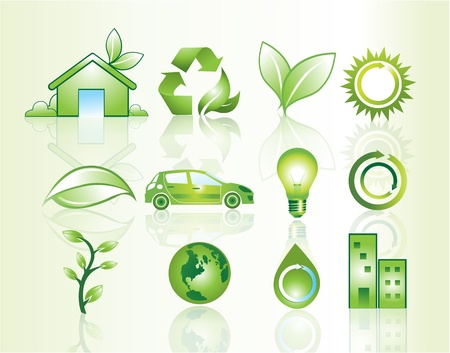 Website icons with environmental theme, vector illustration Vector
