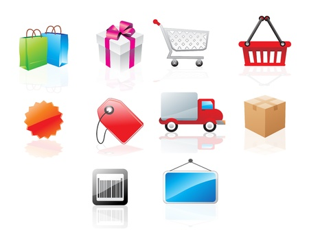 carts: Website icons with shopping theme, vector illustration