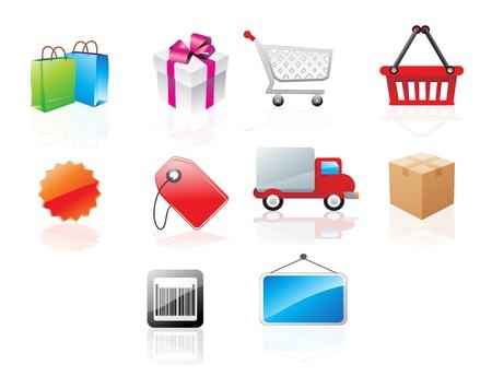 Website pictogrammen met winkelen thema, vector illustratie