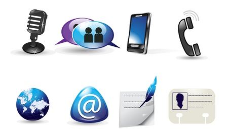 calling art: Web icons with communication theme, vector illustration