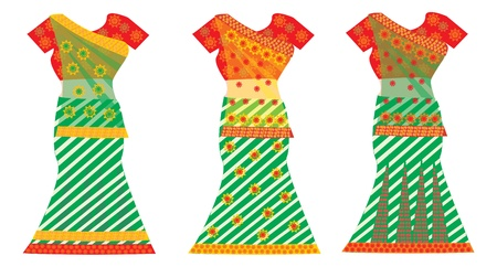 underskirt: Indian Dresses, Female, Colorful Sari, Three, vector illustration