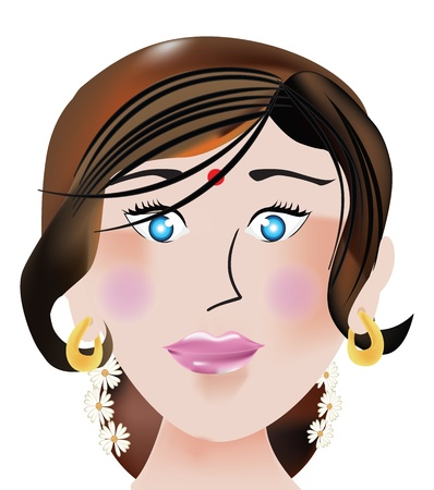 forehead: Indian face, female, bindi on the forehead, blue eyes, gold earrings, vector illustration Illustration
