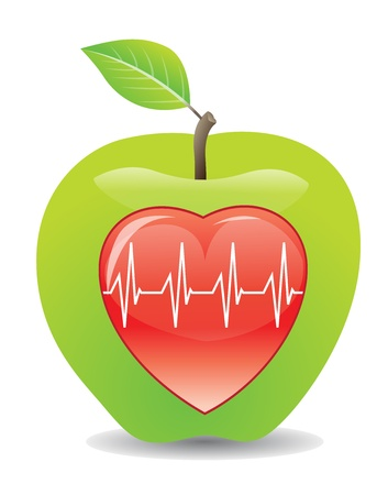 active life: Green apple for a healthy heart, vector illustration Illustration