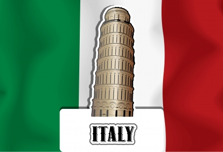 Italy, Italian flag, Leaning Tower of Pisa, vector illustration Çizim