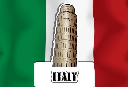church bell: Italy, Italian flag, Leaning Tower of Pisa, vector illustration Illustration