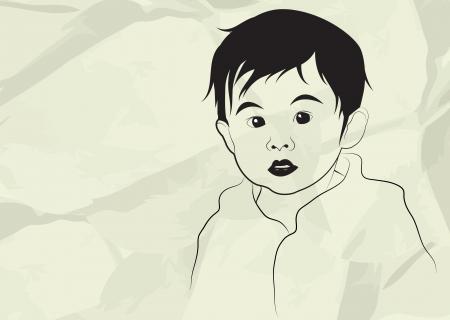 Kid, boy, child, in gray background, vector illustration
