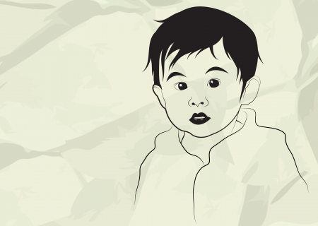 Kid, boy, child, in gray background, vector illustration